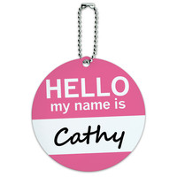 Cathy Hello My Name Is Round ID Card Luggage Tag