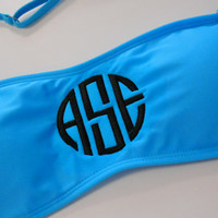 SALE! Monogram Bandeau Turquoise Bikini Top  Font shown NATURAL CIRCLE in black