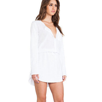 White Long Sleeve One Piece Dress [6339006593]