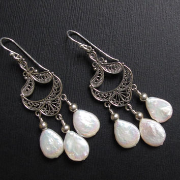 Sterling Chandelier Earrings with White, Iridescent Shell-Pearl drops