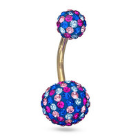 014 Gauge Belly Button Ring with Pink and Blue Crystal in 10K Gold -  - View All - PAGODA.COM