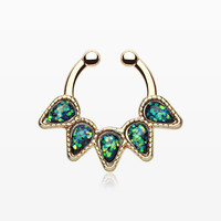Golden Opal Quinary Spear Fake Septum Clip-On Ring