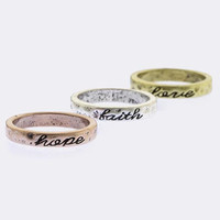 Etched Love Faith Hope Textured Ring