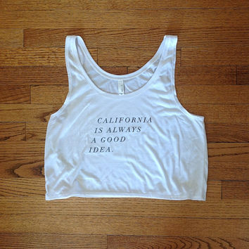 California is always a good idea cropped tee brandy melville inspired golden youth clothing loose croptop comfortable shirts graphic tees