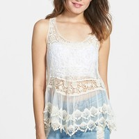 Junior Women's Living Doll Scallop Crochet Tank