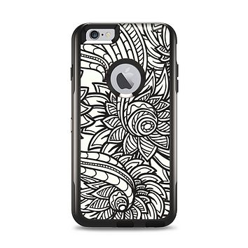 The Black & White Vector Floral Connect Apple iPhone 6 Plus Otterbox Commuter Case Skin Set