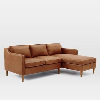 Hamilton 2 piece leather chaise sectional from west elm for Elena leather 2 piece sectional sofa sofa chaise