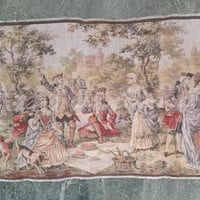 Antique English Garden Party Panoramic Scene 54 Inch