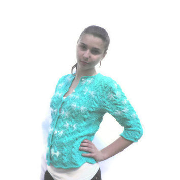Hand Knit Woman Sweater, Eco Cotton/ mint Summer Cardigan/Sweater in Textured Cotton/ Sweater Button Front /Womens Top