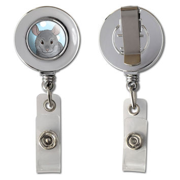 Chinchilla - Cute Pet Retractable Reel Chrome Badge ID Card Holder