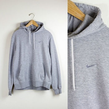 GREY NIKE HOODIE / minimal basic hoodie / pullover hooded sweater / just do it / swoosh / vintage / mens / medium