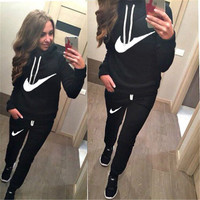 New Brand Womens Letter Printed Fleece Sweatshirts 2pcs/Sets Hoodies Pullover,Tracksuits sweatshirt and pant,Joggings Sport