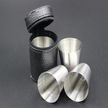 Polished Mini 30ml Stainless Steel Wine Drinking Shot Glasses Barware Cup 4pcs/set