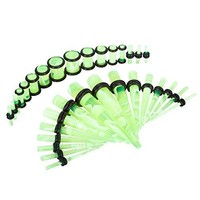 BodyJ4You Gauges Kit Tapers Plugs 14G-0G Green Marble Acrylic Stretching Set 32 Pieces