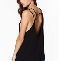 Black Open Backless Sleeveless Cami