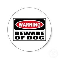 Warning BEWARE OF DOG Sticker from Zazzle.com