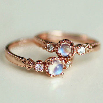 Moonstone Blue Rose Gold Sterling Silver Moonstone Rainbow Moonstone Adjustable Ring Sterling Silver Ring Rose Gold Wedding Ring