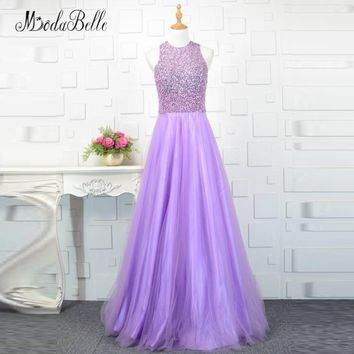 modabelle Lilac Light Purple Beaded Prom Dress Sequin Pearls Sleeveless Tulle Graduation Party Dresses Long Evening Gown 2018