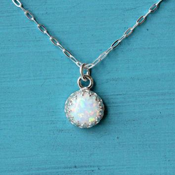 Opal necklace on 18 inch sterling silver cable chain, 8 mm manmade opal, delicate handmade bridal wedding necklace, gift for bridesmaid