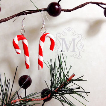 Candy Cane Earrings Holiday Christmas Polymer Clay
