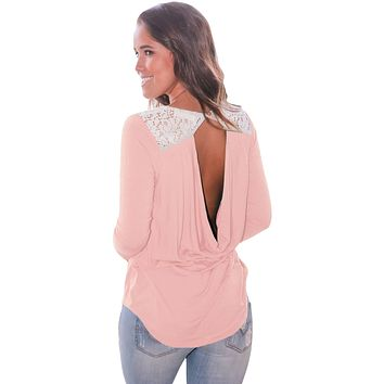 Pink Lace Shoulder Low Cut Back Top