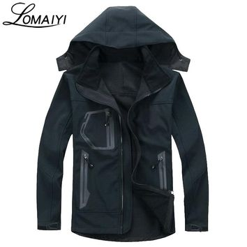 LOMAIYI Male Shark Skin Softshell Jacket Coat Men 2017 Winter Warm Fleece Waterproof Men's Windbreaker Active Rain Jackets,AM037