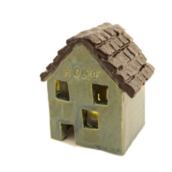 One-of-a-Kind Ceramic House Candle Holder - Rustic Decor - Luminaria
