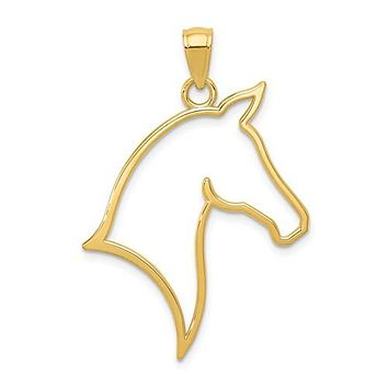 14K Yellow Gold Horse Head Outline Necklace Charm