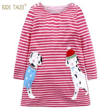 Baby Girls Dress Long Sleeve Animal Appliques Princess Dress Unicorn Summer Dress Kids Dresses For Girls Stripe Cartoon Dog