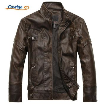Trendy Covrlge Men's Leather Jacket 2017 Winter Slim Fashion Mens Solid PU Jackets Brand Clothing Male Stand Motorcycle Jacket MWP001 AT_94_13