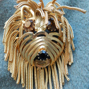 Large Dog Figural Brooch Dog Pendant Lion Brooch Rhinestone Figural Brooch Perfect Gift 1970s Brooch