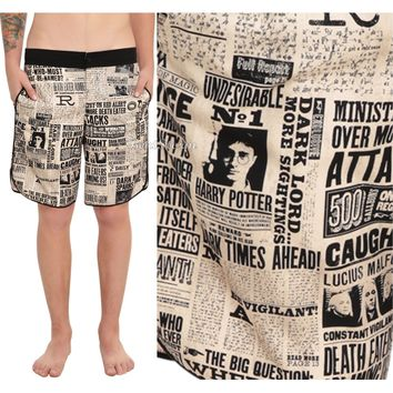 Licensed cool Harry Potter Daily Prophet Newspaper Print Mens Board Shorts Swim Trunks M-XL