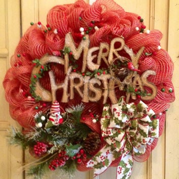 Merry Christmas Wreath, Rustic Christmas Wreath, Burlap Christmas Wreath, Christmas Wreath, Holly Berry Christmas Wreath