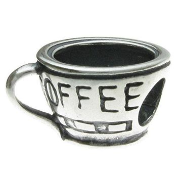 Sterling Silver Coffee Cup Mug Bead Charm for European Story Charm 3mm Snake Chain Bracelets