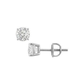 14K White Gold : Round Diamond Stud Earrings – 1.00 CT. TW.