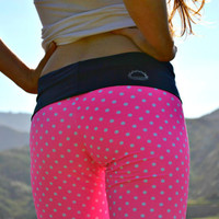 santa monica hot pink & navy skinny yoga pants by purushapeople