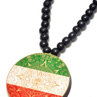 Mayan Calendar Wood Pendant in Green, White & Red