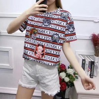 """Gucci"" Personality Multicolor Stripe Letter Cat Tiger Head Print Women Casual Short Sleeve T-shirt Top Tee"