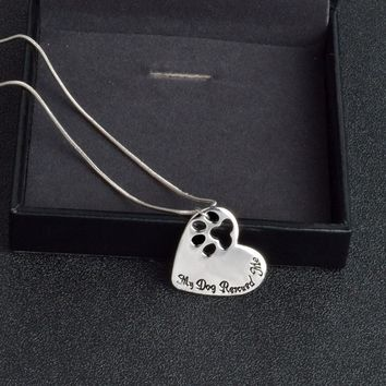 """Personalized Heart Shape """"My Dog Rescued Me"""" Paw Necklace"""