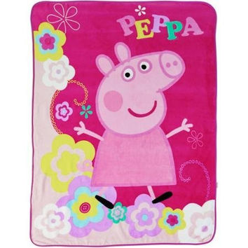 Entertainment One Peppa Pig Peppa's Picnic Micro Raschel Throw, 46 x 60""