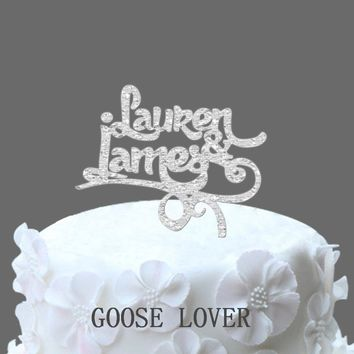 Personalize Two Name Wedding Cake Topper