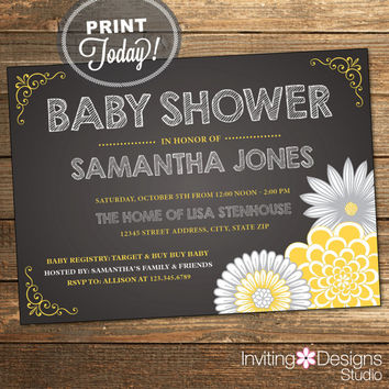 Chalkboard Baby Shower, Shower Invitation, Yellow, Gray, Grey, Neutral, Slate, Floral, Flowers, Printable (Custom Order, INSTANT DOWNLOAD)