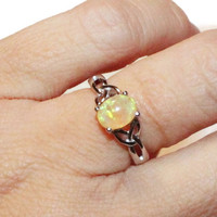 Opal Ring, lab Created Yellow Opal, Sterling Silver Setting, Ring With Oval Stone