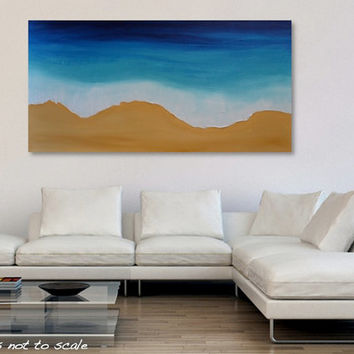 "HUGE 48"" Shoreline Beach Ocean Painting- Original Textured Canvas Acrylic Wall Art- Large 48 x 24: Toes in the Sand- Free Shipping Worldwide"