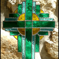 Stained Glass Cross - Turquoise - Aqua Suncatcher - Decorative Solder Work