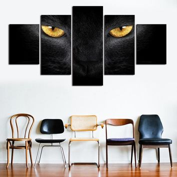 Canvas Painting Wall Art 5 Pieces Golden Eyed Black Cat Poster Modular HD Prints