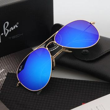 Ray Ban Aviator RB3025 Sunglasses Blue Flash/Gold Frame