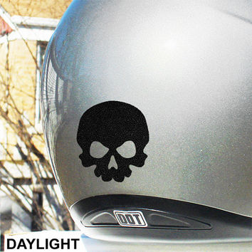 "Little Skull Hyper Reflective Decal / Skull Motorcycle Helmet Safety Sticker / Reflective Skull Decal / 2""h x 2""w / #484R"
