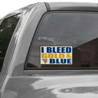 West Virginia Mountaineers 6'' x 12'' I Bleed Gold & Blue Car Decal - http://www.shareasale.com/m-pr.cfm?merchantID=7124&userID=1042934&productID=555877099 / West Virginia Mountaineers