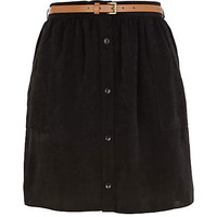 Black button through belted mini skirt